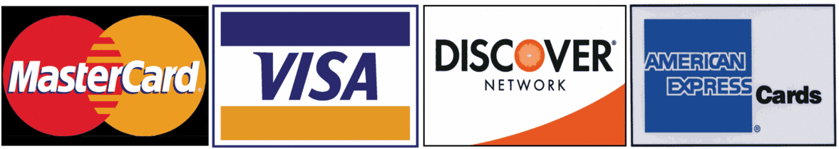 Visa, MC, Discover, Amex
